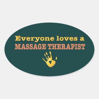 Cada uno ama a un terapeuta del masaje pegatina ovalada