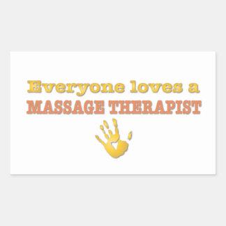 Cada uno ama a un terapeuta del masaje pegatina rectangular