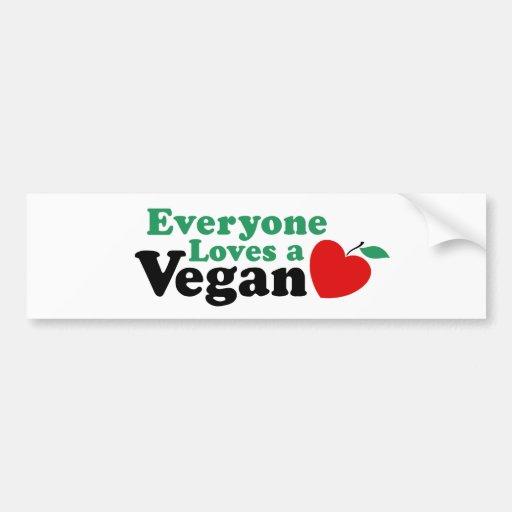Cada uno ama a un vegano pegatina para auto