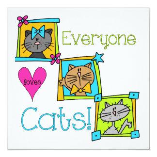 """Cada uno ama gatos invitación 5.25"""" x 5.25"""""""