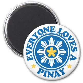 Cada uno ama un Pinay - azul Imán Redondo 5 Cm