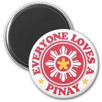 Cada uno ama un Pinay - rojo Imán Redondo 5 Cm
