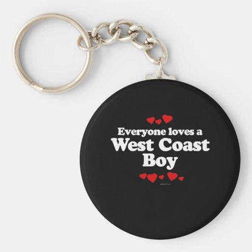 Cada uno ama una camiseta del muchacho de la costa llavero redondo tipo pin