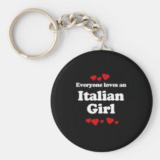 Cada uno ama una camiseta italiana del chica llavero redondo tipo pin