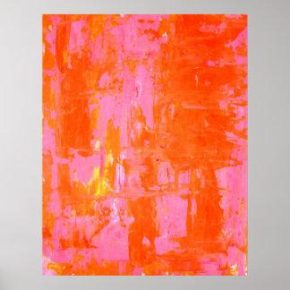 """""""Cada uno arte abstracto anaranjado y rosado de Póster"""