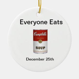 Cada uno come día - 25 de diciembre adorno navideño redondo de cerámica