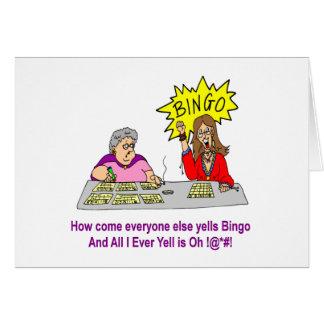Cada uno grita bingo tarjeta de felicitación