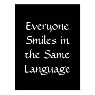 Cada uno sonríe en la misma lengua tarjetas postales