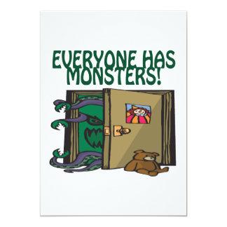 """Cada uno tiene monstruos invitación 5"""" x 7"""""""