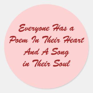 Cada uno tiene un pegatina del poema