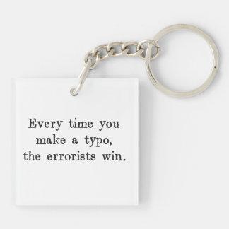 Cada vez que usted hace que un error tipográfico llavero cuadrado acrílico a doble cara