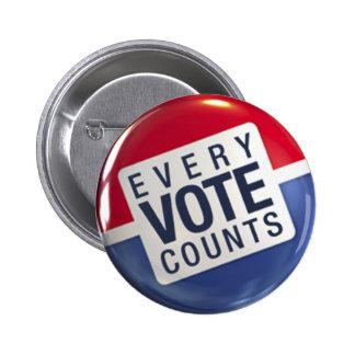 Cada voto cuenta el botón de la elección pins