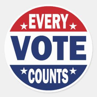 Cada voto cuenta pegatina redonda