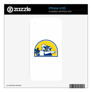 Caddie and Golfer Pointing Retro iPhone 4S Decal