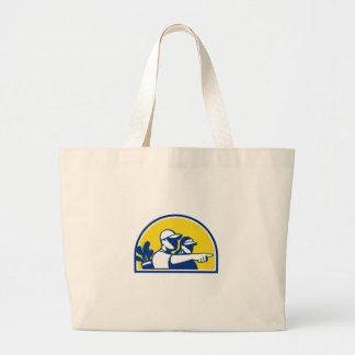 Caddie and Golfer Pointing Retro Large Tote Bag