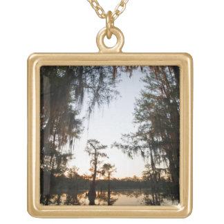 Caddo Lake at sunrise Square Pendant Necklace