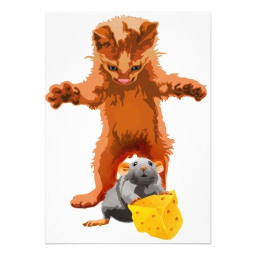 Cadena alimentaria - gato, ratón y queso