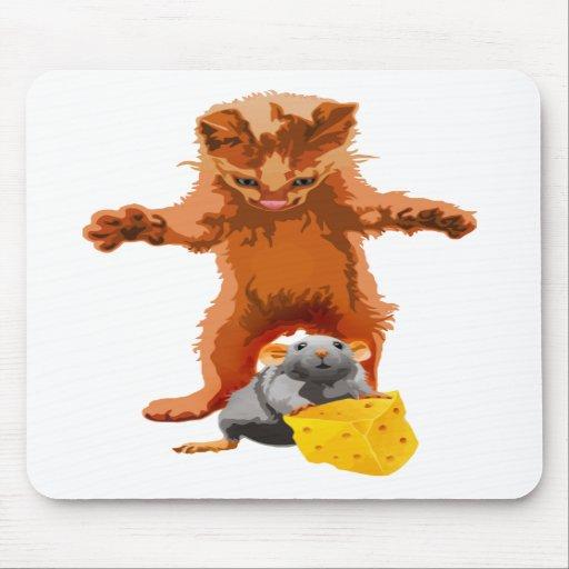 Cadena alimentaria - gato, ratón y queso alfombrilla de ratón