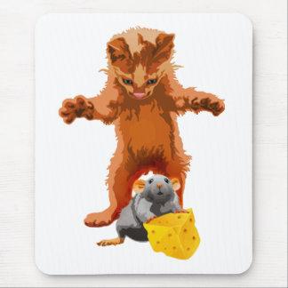 Cadena alimentaria - gato, ratón y queso tapetes de ratón