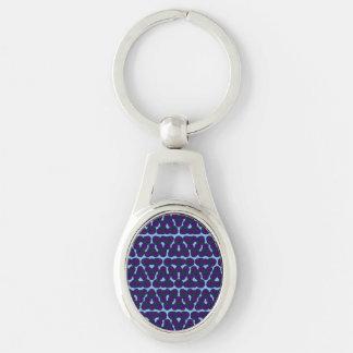 Cadena azul púrpura abstracta del óvalo del punto llavero plateado ovalado