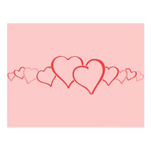 Cadena de corazones tarjeta postal