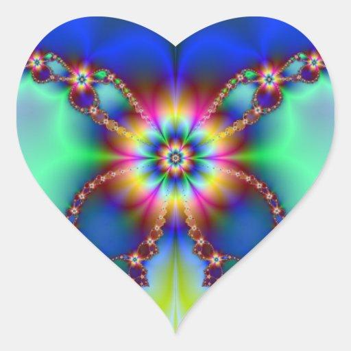 Cadena de flor pegatinas corazon