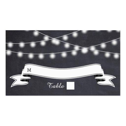 Cadena de luces en tarjeta del lugar del boda de l tarjetas de visita