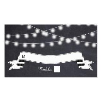 Cadena de luces en tarjeta del lugar del boda de tarjetas de visita