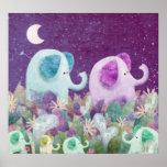 Cadena de margaritas de los elefantes - impresión póster