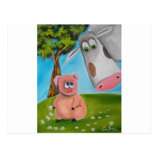 cadena de margaritas linda de la vaca del cerdo tarjeta postal