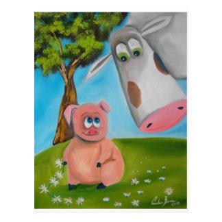 cadena de margaritas linda de la vaca del cerdo tarjetas postales