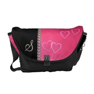 Cadena de plata de los corazones rosados bolsa de mensajeria