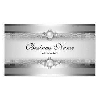 Cadena de plata elegante de la perla de la raya de tarjetas de visita