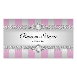 Cadena de plata rosada elegante de la perla de la  plantilla de tarjeta de negocio