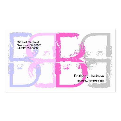 Cadena del rosa de la tarjeta de visita del alfabe