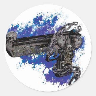 Cadena esquelética de la pistola del revólver de pegatina redonda