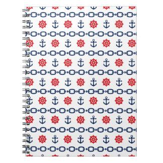 Cadena náutica en rojo, blanco, y azul note book