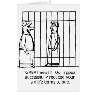 Cadena perpetua del chiste uno del abogado tarjeta de felicitación