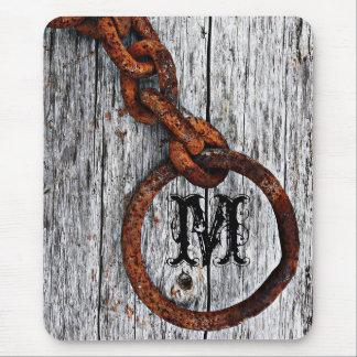 Cadena y anillo oxidados grandes tapete de ratones