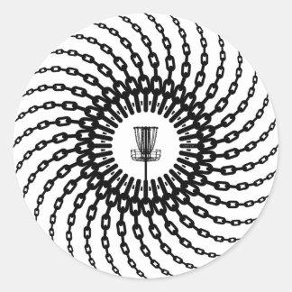 Cadenas de la cesta del golf del disco pegatina redonda