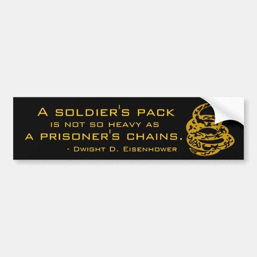 Cadenas del paquete de un soldado o de un preso etiqueta de parachoque