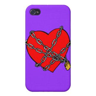cadenas y corazón iPhone 4 funda