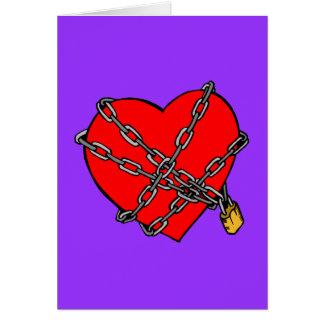 Cadenas y corazón tarjeta de felicitación