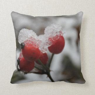 Cadera color de rosa nevada cojín