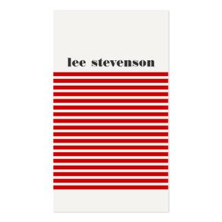 Cadera rayada roja y negra moderna fresca tarjetas de visita