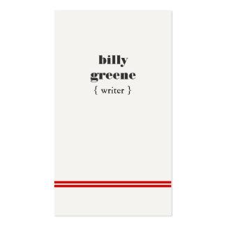 Cadera roja de las rayas del escritor moderno tarjetas de visita