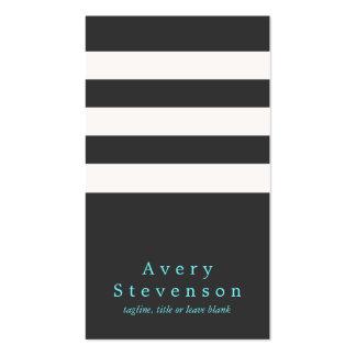 Cadera vertical moderna rayada blanco y negro fres tarjeta de negocio