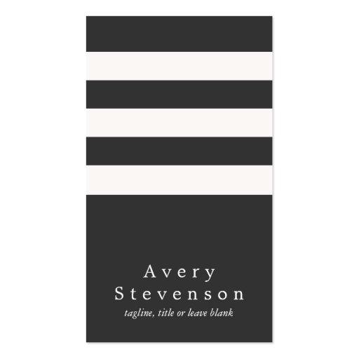 Cadera vertical moderna rayada blanco y negro plantillas de tarjeta de negocio