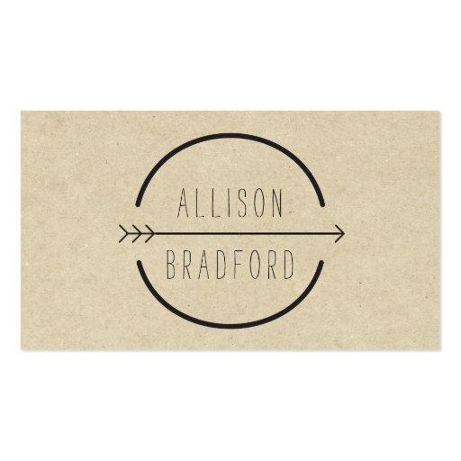 Cadera y logotipo rústico de la flecha en la plantilla de tarjeta de negocio