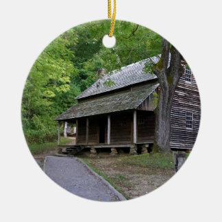 Cades Cove Cabin Ceramic Ornament